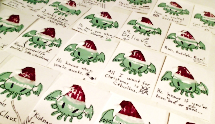Giggedy Geekmum's Stamped Cthulhu Christmas Card