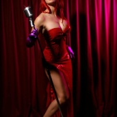 Sexy Cosplayer Dayna Baby Lou Photographed by Powder Puff Vixen PinUp Photography as real life Jessica Rabbit