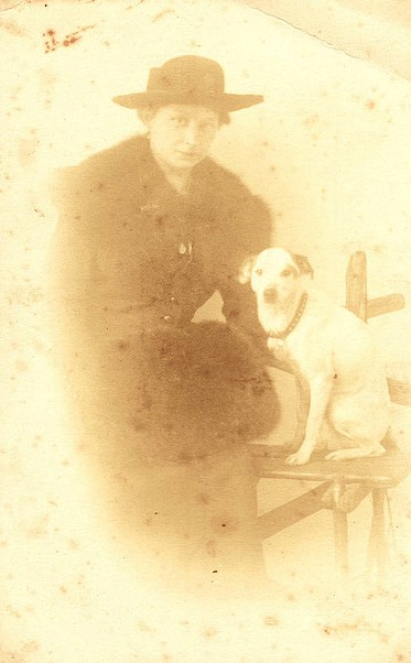 Vintage Woman with Dog