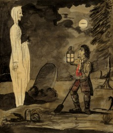 George Montard Woodward, Gravedigger and a Ghost, 1795