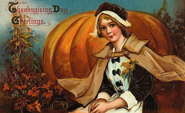 vintage pumpkin thanksgiving postcard