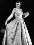 1953 Mamie Eisenhower in  peau de soie gown by Nettie Rosenstein and Eva Rosecrans