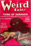 Cover of the pulp magazine Weird Tales (August 1937, vol. 30, no. 2) featuring Thing of Darkness by G. G. Pendarves. Cover art by Margaret Brundage.