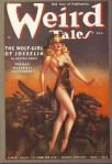 Cover of the pulp magazine Weird Tales (August 1938, vol. 32, no. 2) featuring The Wolf-Girl of Josselin by Arlton Eadie. Cover art by Margaret Brundage