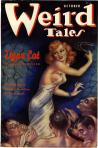 Cover of the pulp magazine Weird Tales (October 1937, vol. 30, no. 4) featuring Tiger Cat by David H. Keller. Cover art by Margaret Brundage.