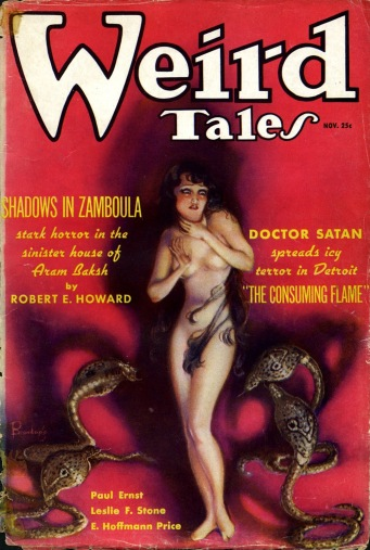 Cover of Weird Tales (November 1935), feature story is Robert E. Howard's Shadows in Zamboula. Cover art M Brundage