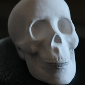 'Skull', 2012, paper, glue, edition of 1, dimensions compounded 24 x 16 x 18 cm