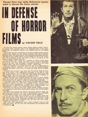 In Defense of Horror Films by Vincent Price via Greggory's Shock Theater