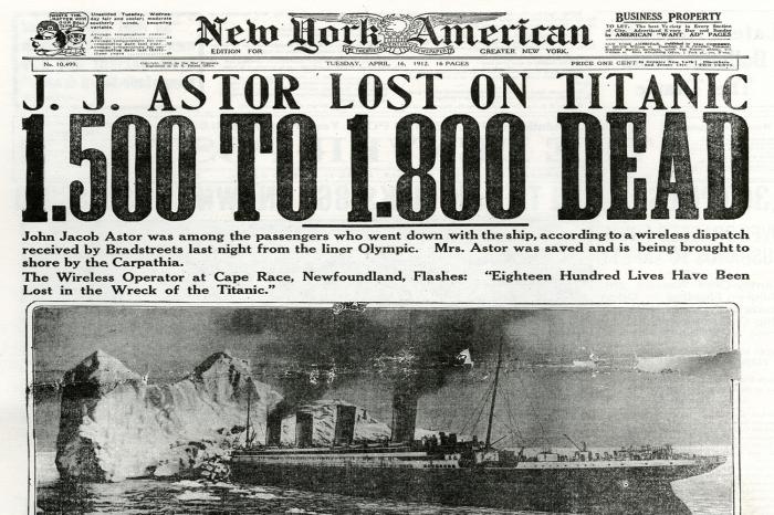 Titanic Headlines New York American