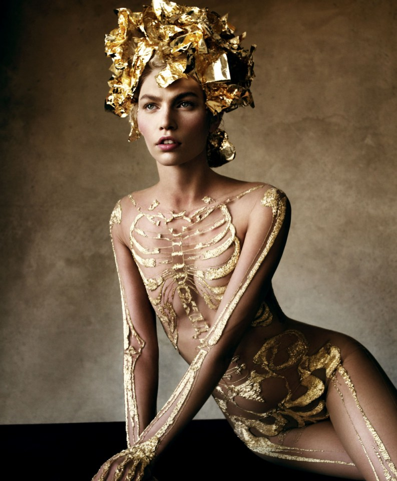 Victor Demarchelier Heavy Metal Skeleton Bodysuit by Marchesa October 2012