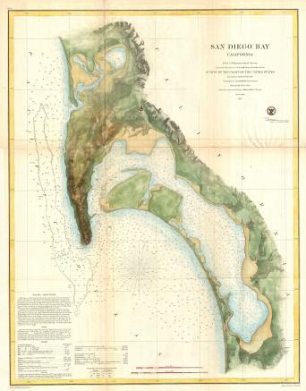 1857 U.S.C.S. Map of San Diego Bay California