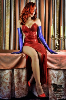 MsRoxanne cosplaying in self-made Jessica Rabbit costume via DeviantArt