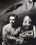 Surrealist Art Photograph of Young Salvador Dali with Painting