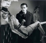Young Surrealist Artist Salvador Dali with mechanical figure
