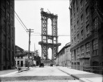 June 5, 1908 photo, the Manhattan Bridge is less than a shell, seen from Washington Street.