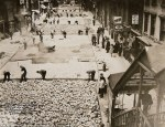 Workers lay bricks to pave 28th Street in Manhattan on October 2, 1930