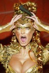 2003 Heidi Klum Halloween Gold Alien with fangs costume