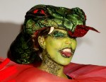 2006 Heidi Klum Halloween Forbidden Fruit Snake Tongue Out