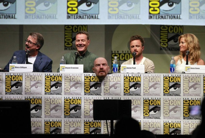 Bryan Cranston, Aaron Paul, and Anna Gunn at the SDCC Breaking Bad Panel photographed by KC Alfred for UT San Diego