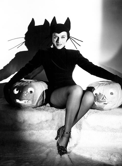 Paulette Goddard Halloween Black Cat