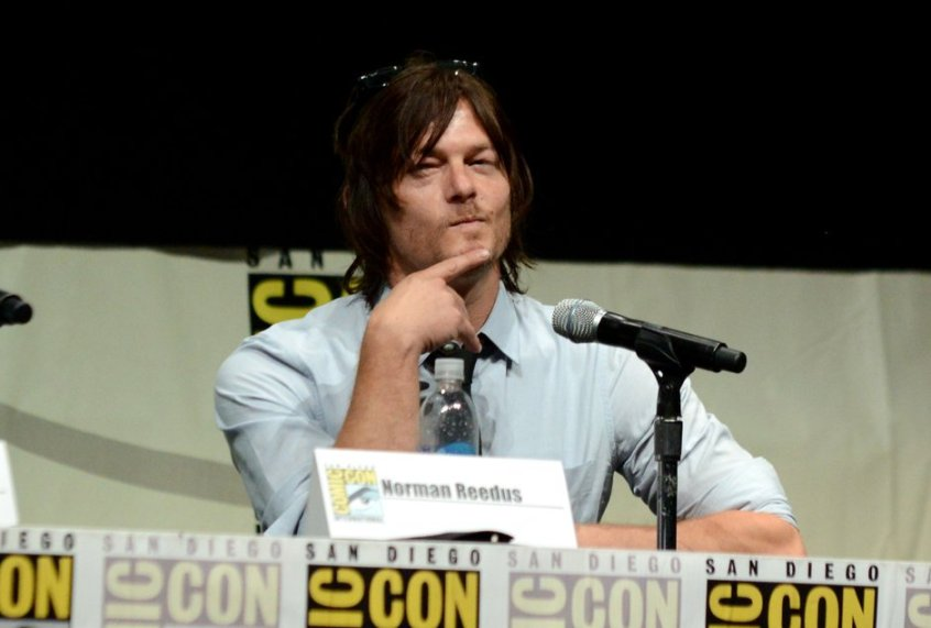 Norman Reedus in 'The Walking Dead' panel at San Diego Comic Con, photographed by Jordan Strauss for Invision - AP