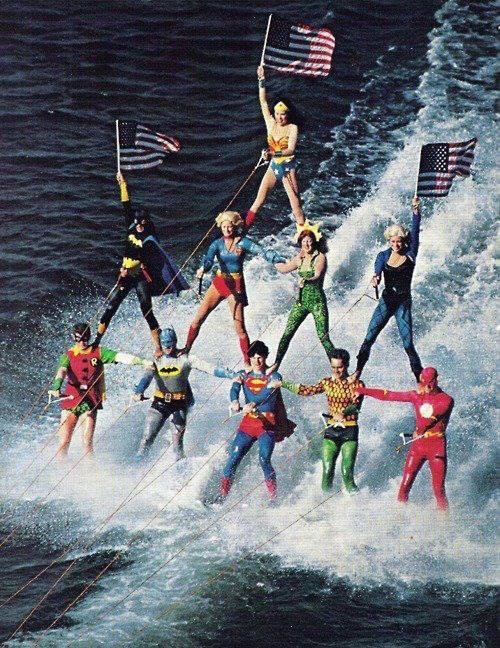 Superheros Celebrate America with Water Skiing Pyramid