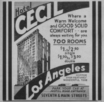 Vintage Ad for Hotel Cecil, Los Angeles