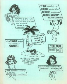 Back page of an advertisement from Monte Proser's Beachcomber in New York via Critiki