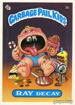 Garbage Pail Kids Original Series 1 Ray Decay Issued June 1985 via GEEPEEKAY