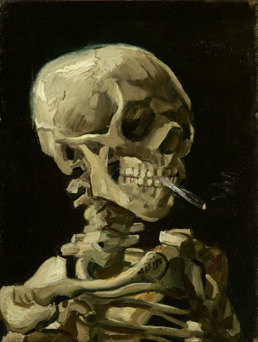 Head of a skeleton with a burning cigarette, 1886