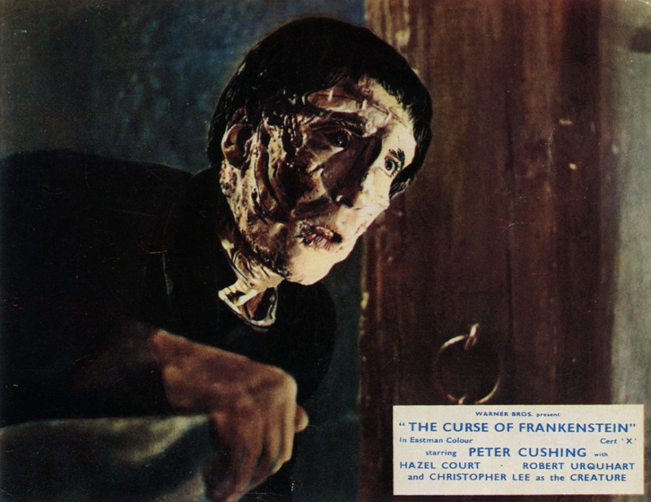 Still from The Curse of Frankenstein with Peter Cushing