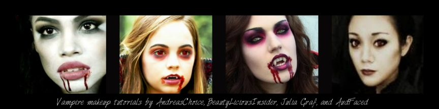 Vampire makeup tutorials by AndreasChoice, BeautyLiciousInsider, Julia Graf, and AudFaced