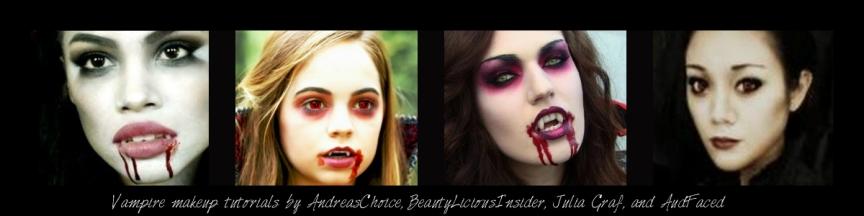 Vampire makeup tutorials by AndreasChoice, BeautyLiciousInsider, Julia Graf, and AudFaced