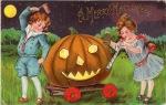 a merry halloween vintage Halloween postcard via onewomanshands.blogspot.com