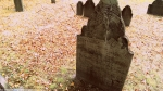 Example of Tombstone Weathering, late 1700's graveyard, Central Burying Ground cemetery, Boston, MA (1) Photographed by Eva Halloween.