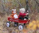 Little kids cosplay calvin and hobbes Halloween costumes