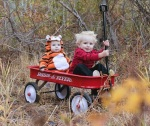 Little kids cosplay calvin and hobbes Halloween costumes