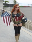 Stephanie Castro Cosplaying as Gender Swapped Captain America at SDCC