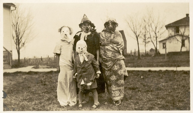 Turn of the century early 1900's Vintage halloween photo creepy