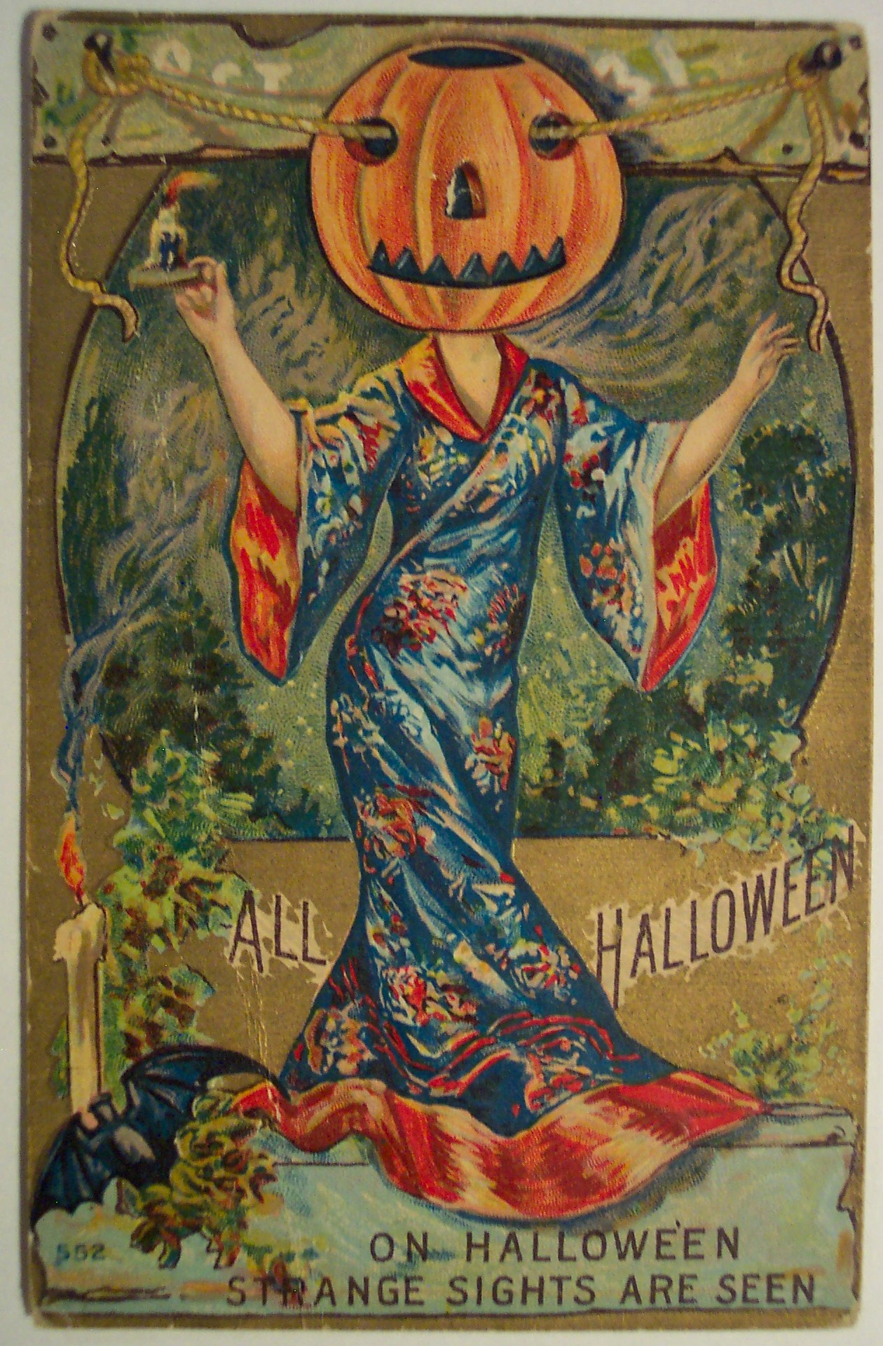 vintage halloween postcard geisha pumpkin. Black Bedroom Furniture Sets. Home Design Ideas