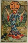 Vintage Halloween Postcard Geisha Pumpkin