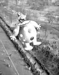 Clown Balloon over Central Park West in 1949 Macy's Thanksgiving Day Parade via NYDailyNews