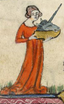 Detail of a lady bringing the unicorn's head to the table in Geoffrey Fule's cookbook, England, mid-14th century (London, British Library, MS Additional 142012, f 137r)