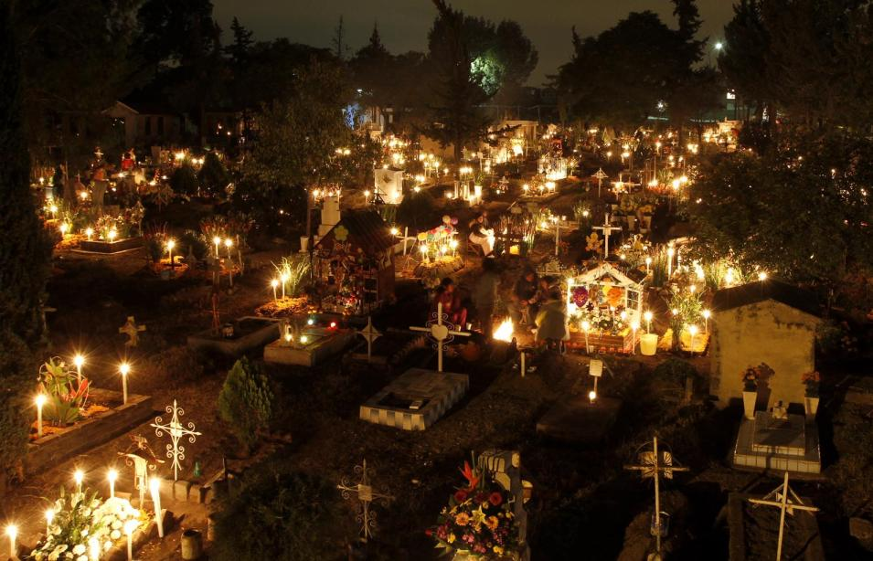 San Gregorio cemetery on the outskirts of Mexico City, November 1 (Dia de los Muertos)