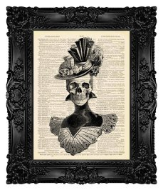 $10 Elegant Victorian Skull Print on Vintage Dictionary Page by MadameBricolagePrint