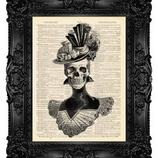 $10 Elegant Victorian Skull Print on Vintage Dictionary Page by MadameBricolagePrint