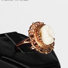 $160 Victorian Inspired Rose Gold Vermeil Human Tooth Ring Oval Filigree sold by Loved to Death