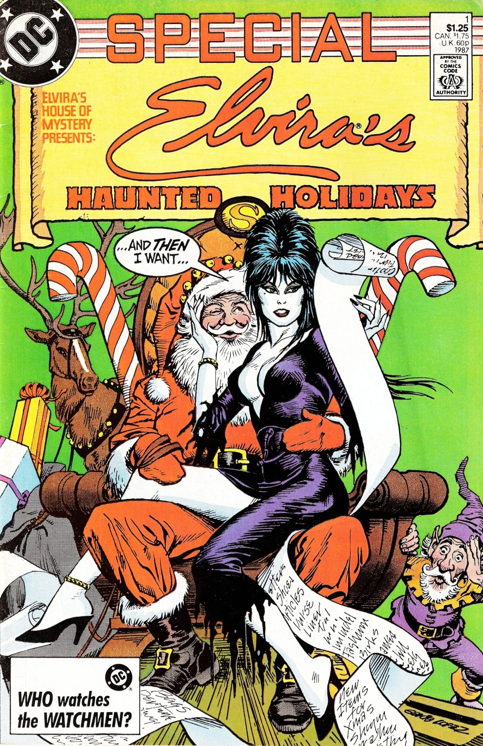 1987 George Perez Cover Elvira's House of Mystery Special - Elvira's Haunted Holidays 1