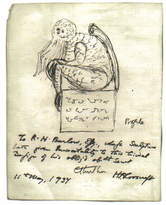 A sketch of Cthulhu drawn by H. P. Lovecraft, 11 May 1934