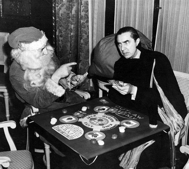 Bela Lugosi plays Outlaw Rummy with Santa, late 1930's or 40's
